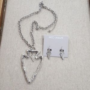 Cool Hammered Silver Necklace and Earring Set.